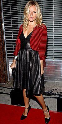 Kimi geleneksel modacılara göre deri ve romantik hırkaları bir arada düşünmek çılgınca! Ama bunları giyen Sienna Miller olunca, durum hiç de öyle görünmüyor!